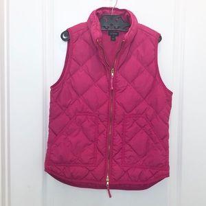 J. Crew Pink Quilted Zip Up Vest Small